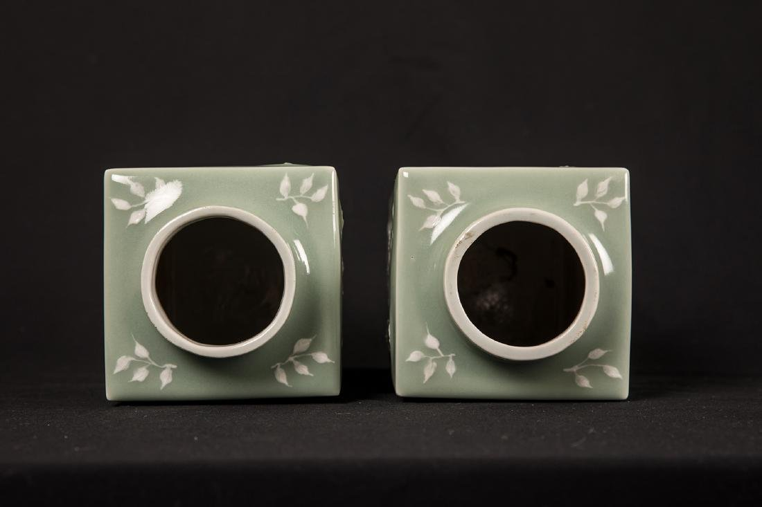 PAIR OF CHINESE CELADON AND WHITE POTTERY SQUARE VASE. - 3