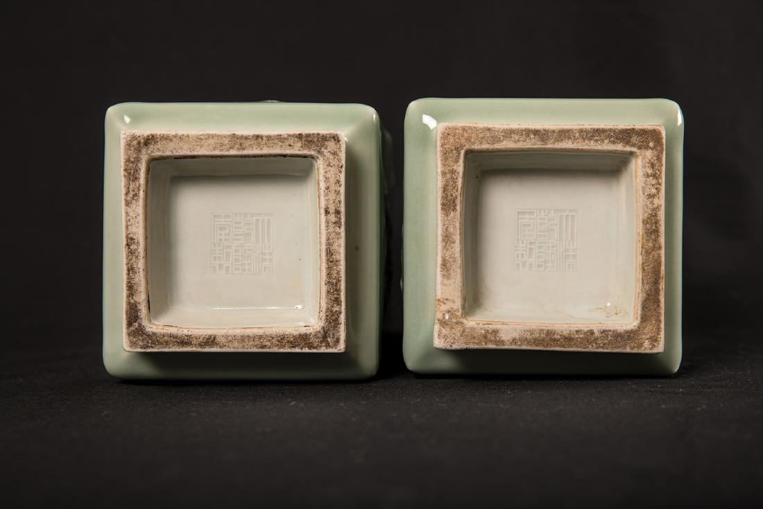 PAIR OF CHINESE CELADON AND WHITE POTTERY SQUARE VASE. - 4