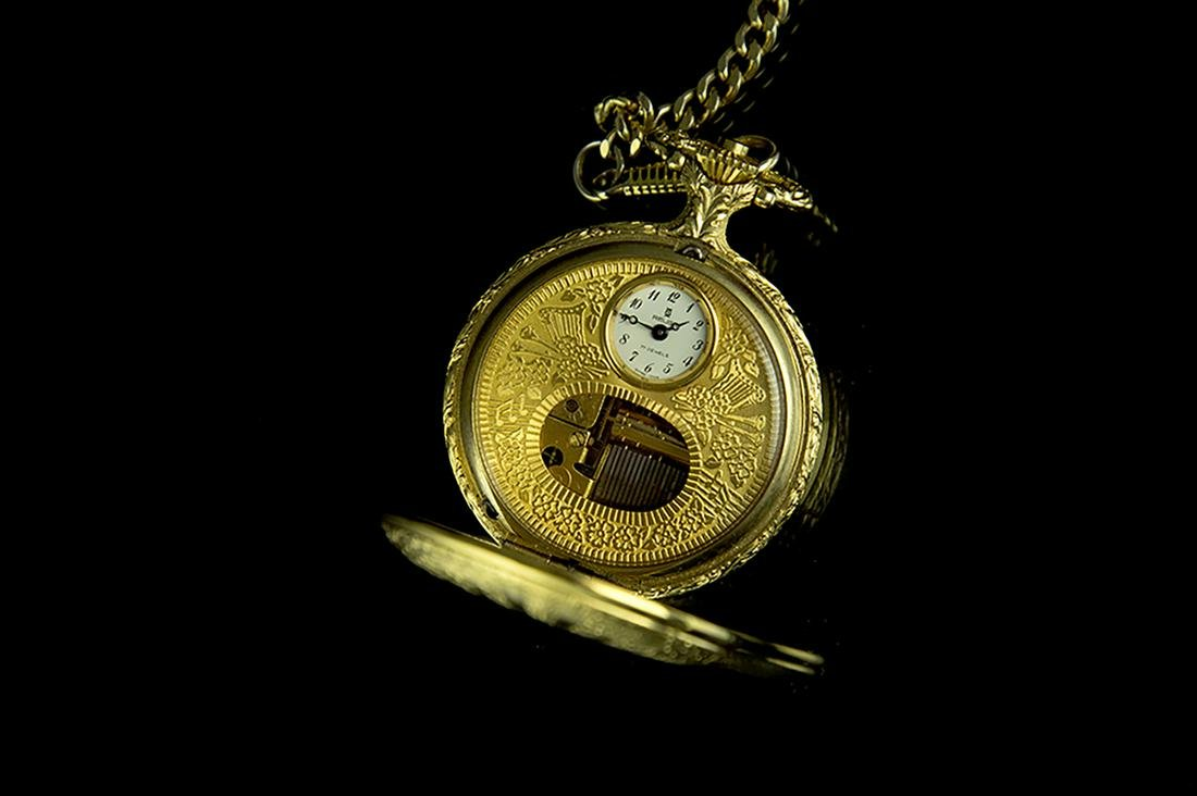 Vtg REUGE Swiss MUSIC BOX Musical POCKET WATCH Gold