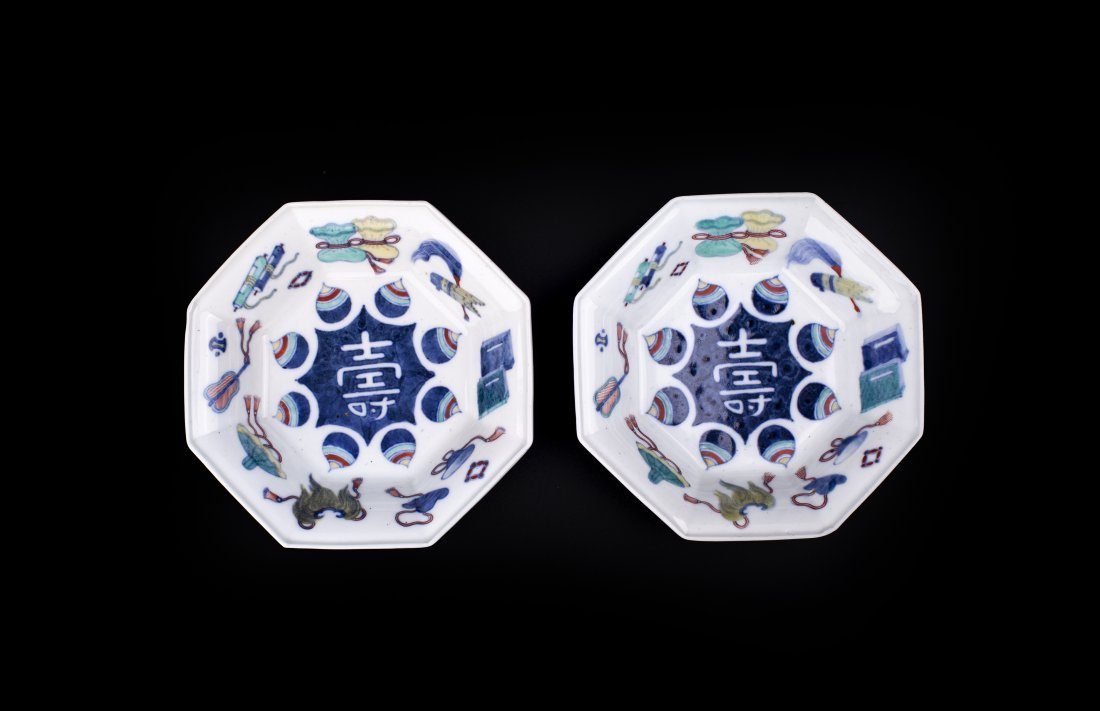 A PAIR OF UNDER GLAZE BLUE AND OVERGRAZE ENAMELED OCTAG