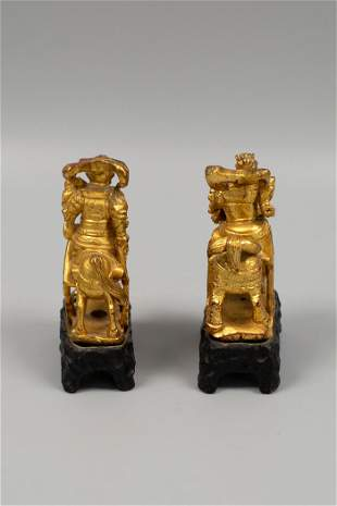 LATE QING DYNASTY WOODEN WARRIOR SCULPTURES WITH GOLD
