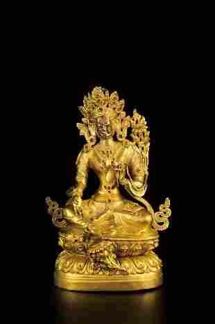 MID-QING DYNASTY TIBETAN GILT BRONZE BUDDHA STATUE