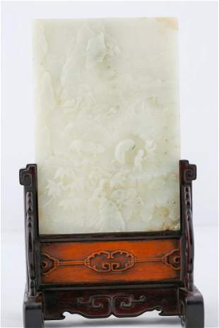 WHITE JADE DOUBLE SIDED TABLE SCREEN QING OR LATER