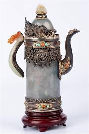 MID QING DYNASTY - JADEITE AND SILVER INLAID DOMU POT