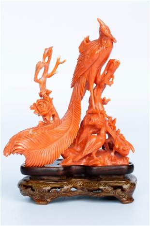 CARVED CORAL PHOENIX STATUE