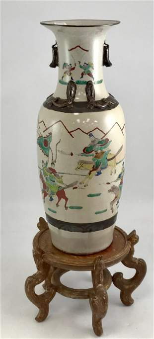 LARGE CHINESE VASE ON STAND