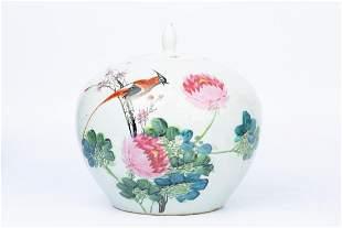"""LATE QING FAMILLE ROSE """"SHOU DAI"""" BIRD FLOWER JAR"""