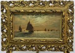 LKOHTS 1910 ANTIQUE SEASCAPE OIL ON CANVAS