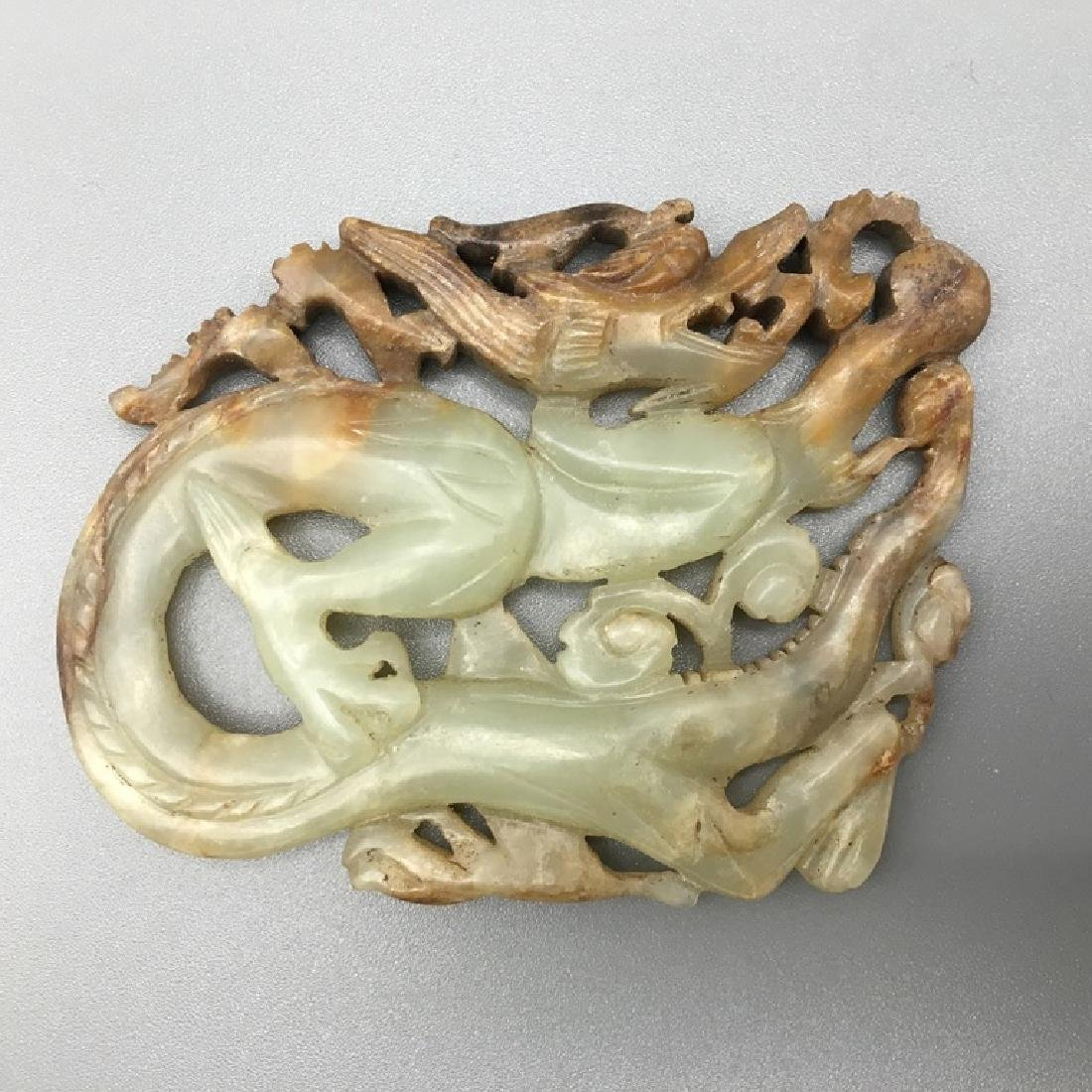 CHINESE QING WHITE  JADE CARVED DRAGON PENDANT