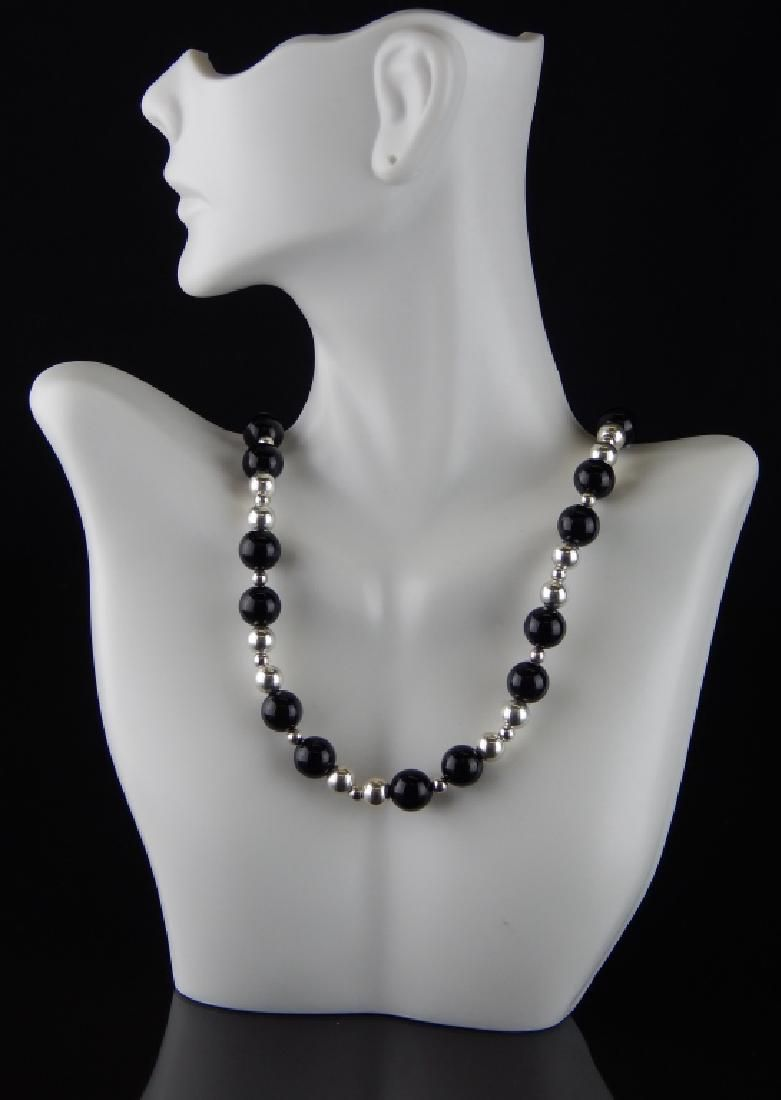 TIFFANY & CO STERLING AND ONYX BEADED NECKLACE