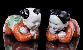 PAIR CHINESE PORCELAIN PILLOW BABIES
