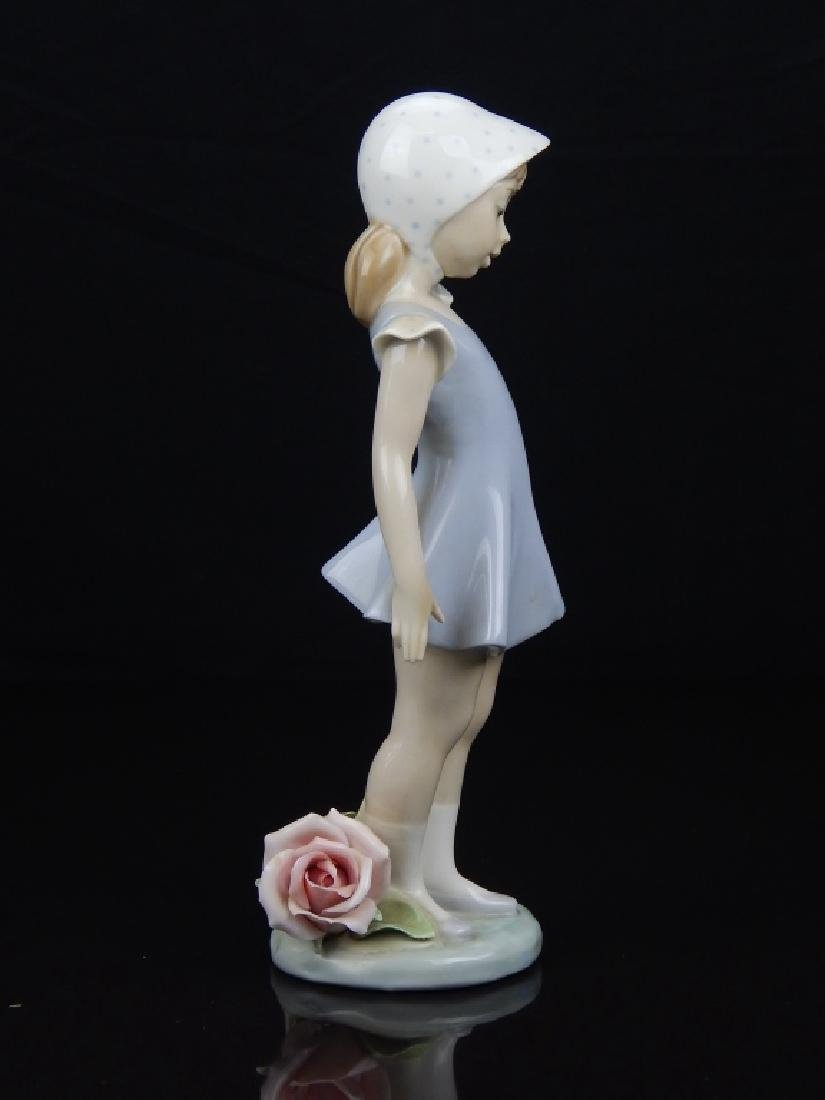 LLADRO PORCELAIN GIRL ALONG SIDE OF ROSE FIGURE - 2
