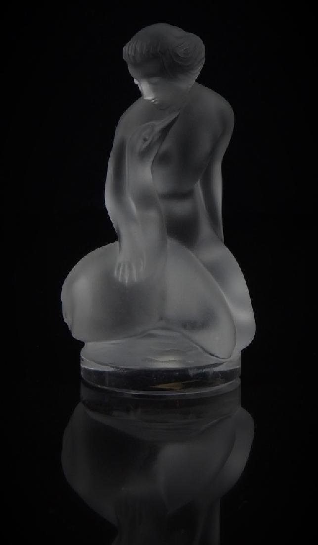 LALIQUE FRENCH CRYSTAL NUDE W/ DUCK PAPERWEIGHT
