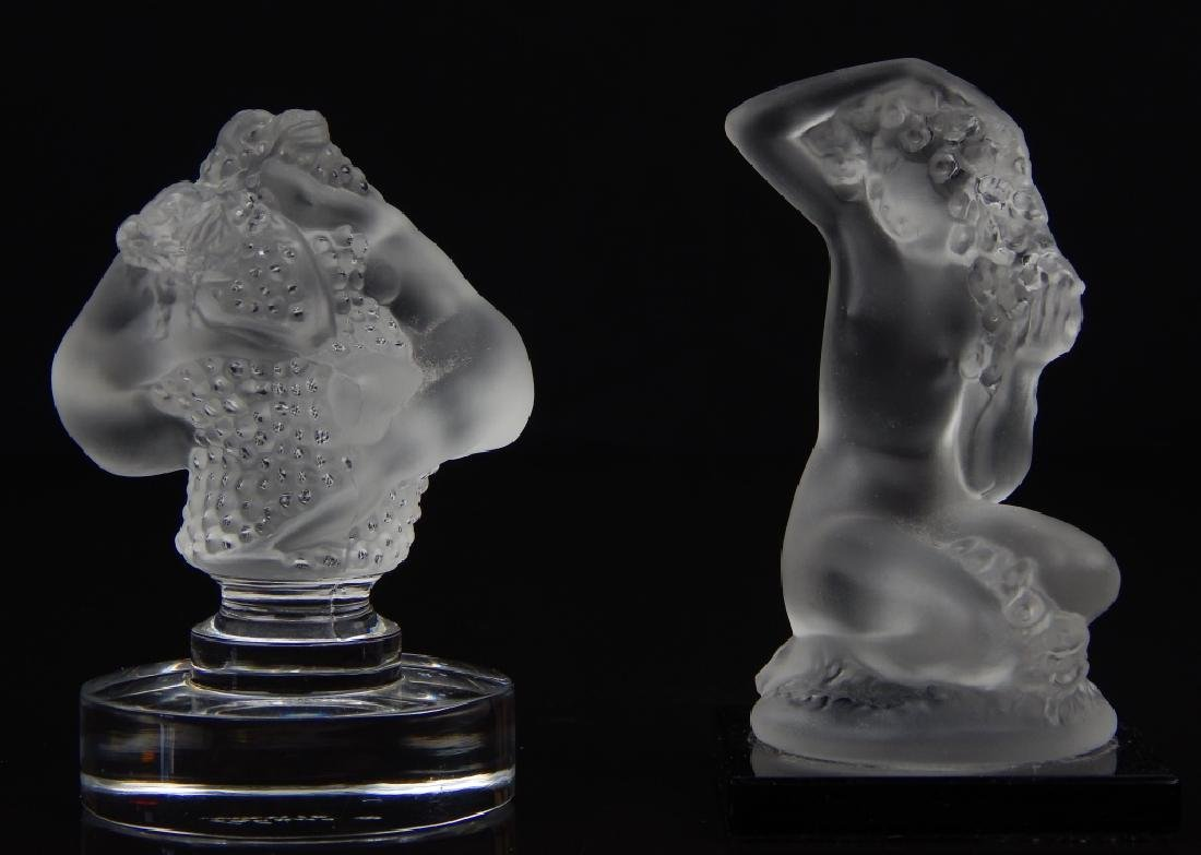 (2) LALIQUE FRANCE NUDE CRYSTAL PAPERWEIGHTS