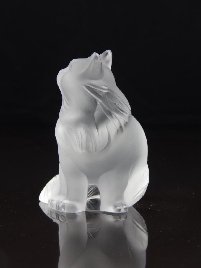LALIQUE FRANCE CRYSTAL CAT SCULPTURE - 4