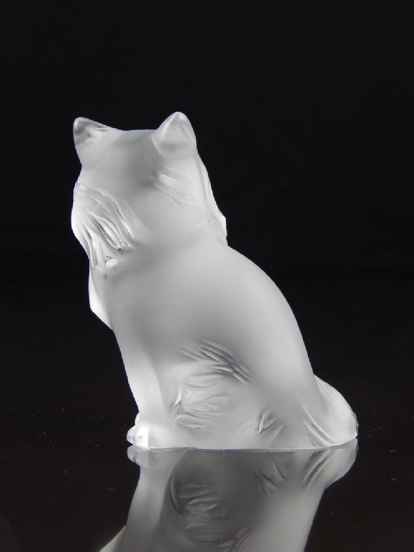 LALIQUE FRANCE CRYSTAL CAT SCULPTURE - 5
