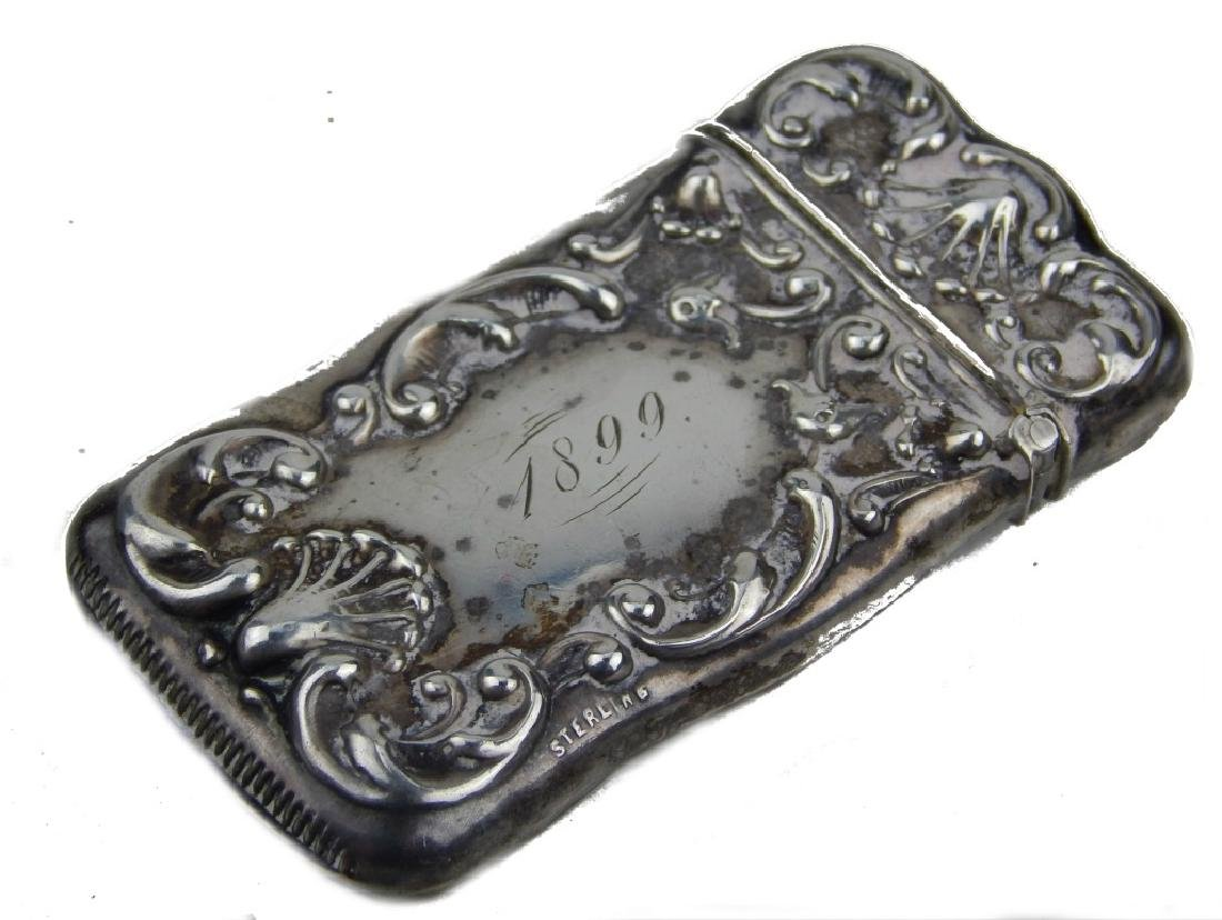 ANTIQUE STERLING SILVER VESTA MATCH CASE