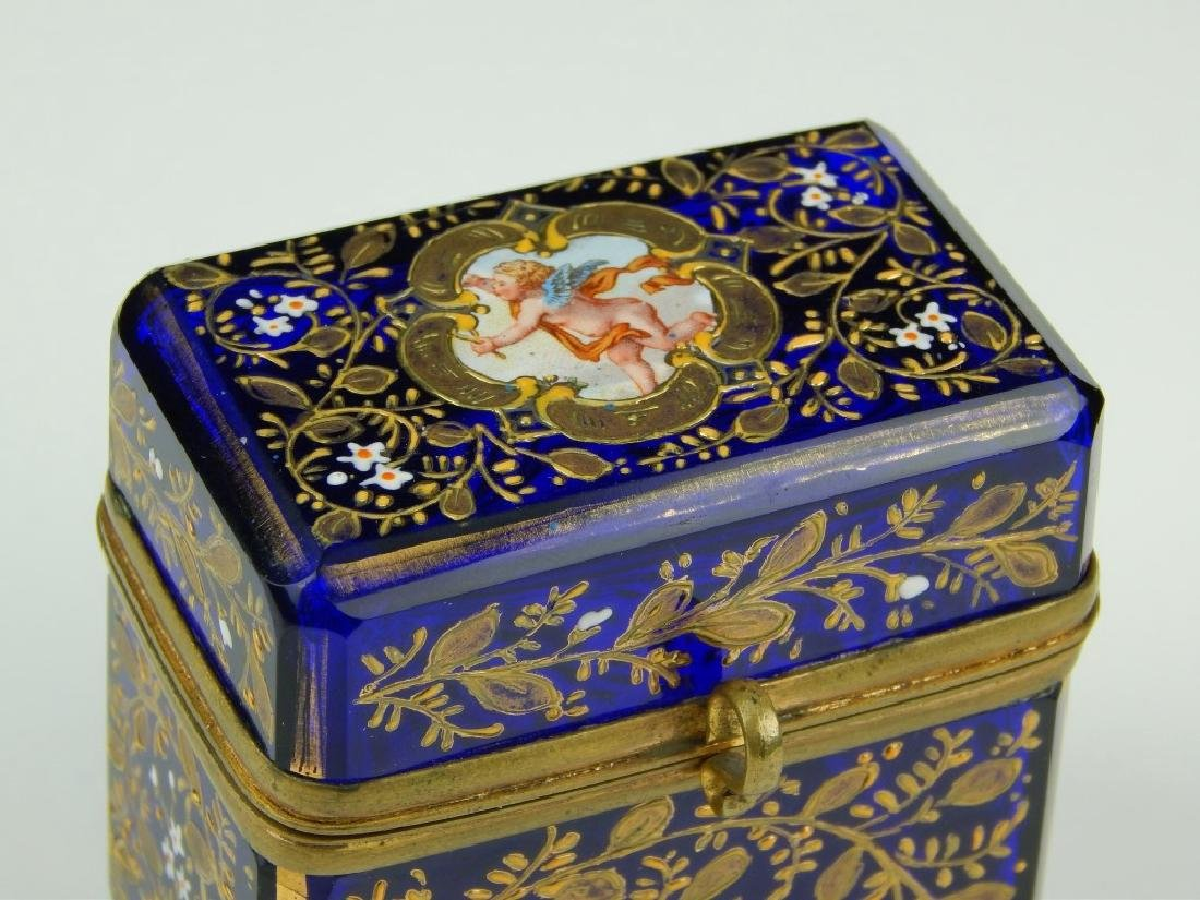 ANTIQUE CONTINENTAL ENAMELED COBALT GLASS BOX - 2