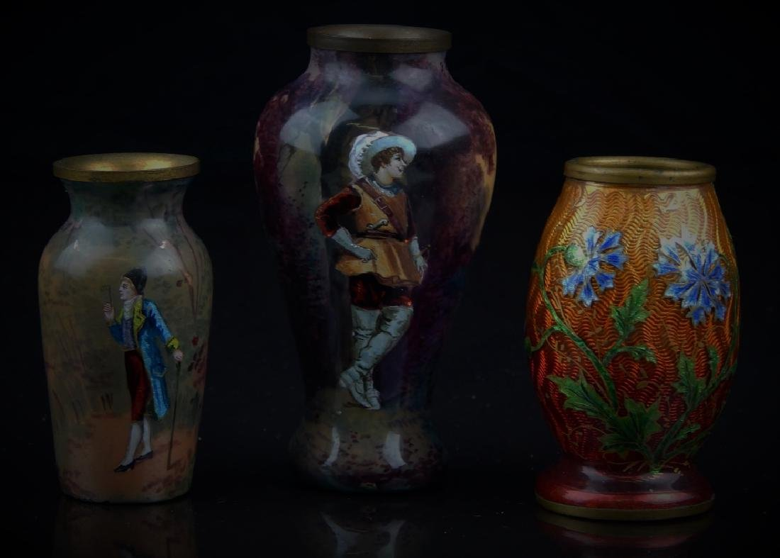 (3) ANTIQUE FRENCH ENAMELED MINIATURE VASES - 2