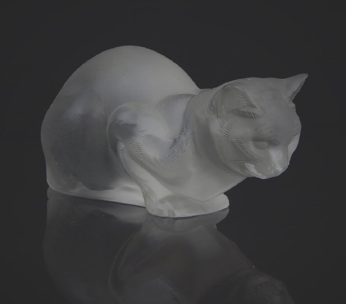 LALIQUE FRANCE LARGE CRYSTAL CAT SCULPTURE