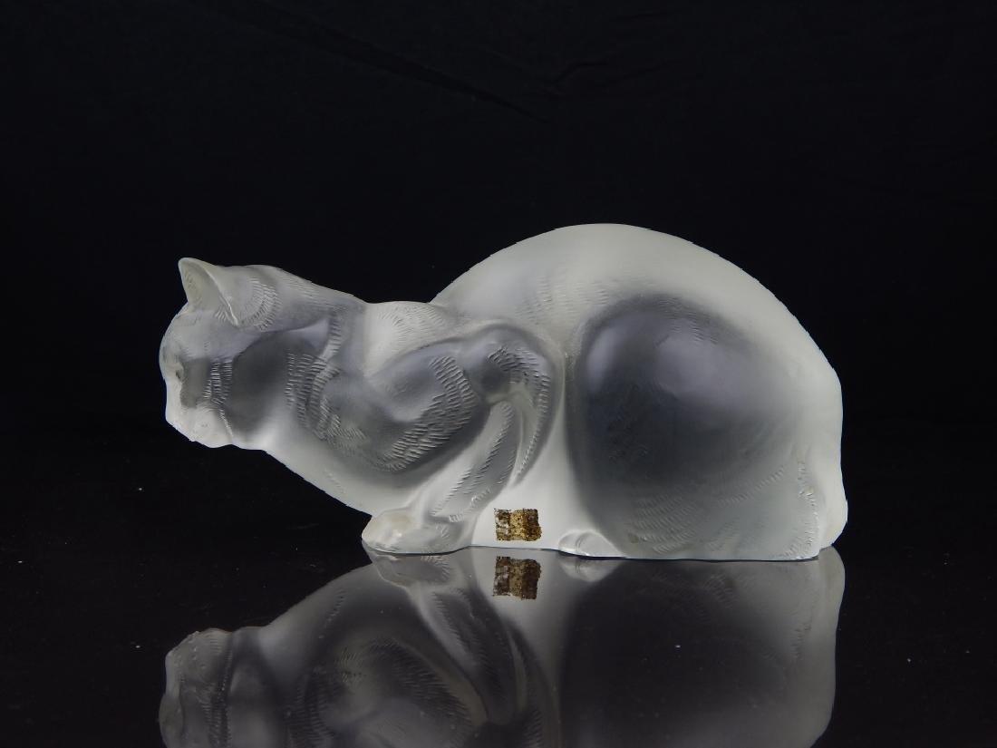 LALIQUE FRANCE LARGE CRYSTAL CAT SCULPTURE - 2