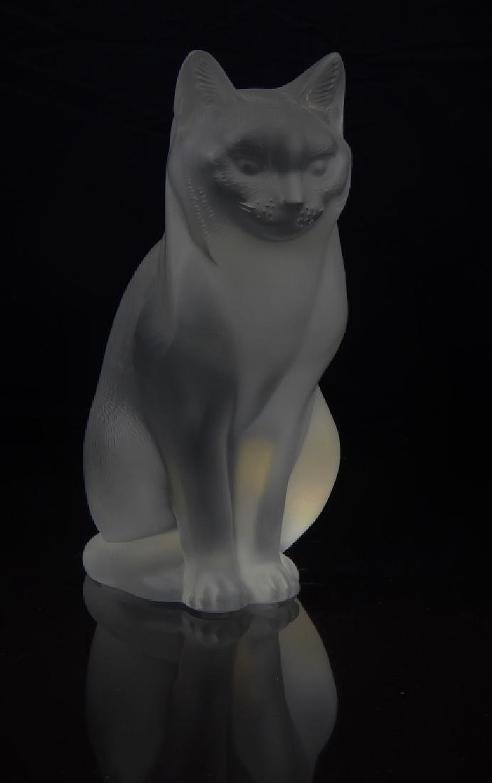 LALIQUE FRANCE CRYSTAL SITTING CAT SCULPTURE