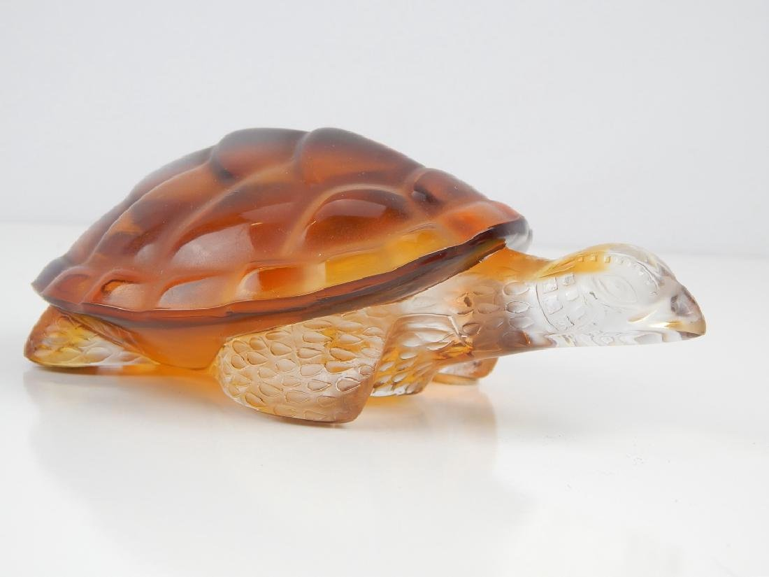 LALIQUE FRANCE CRYSTAL AMBER & CLEAR TURTLE