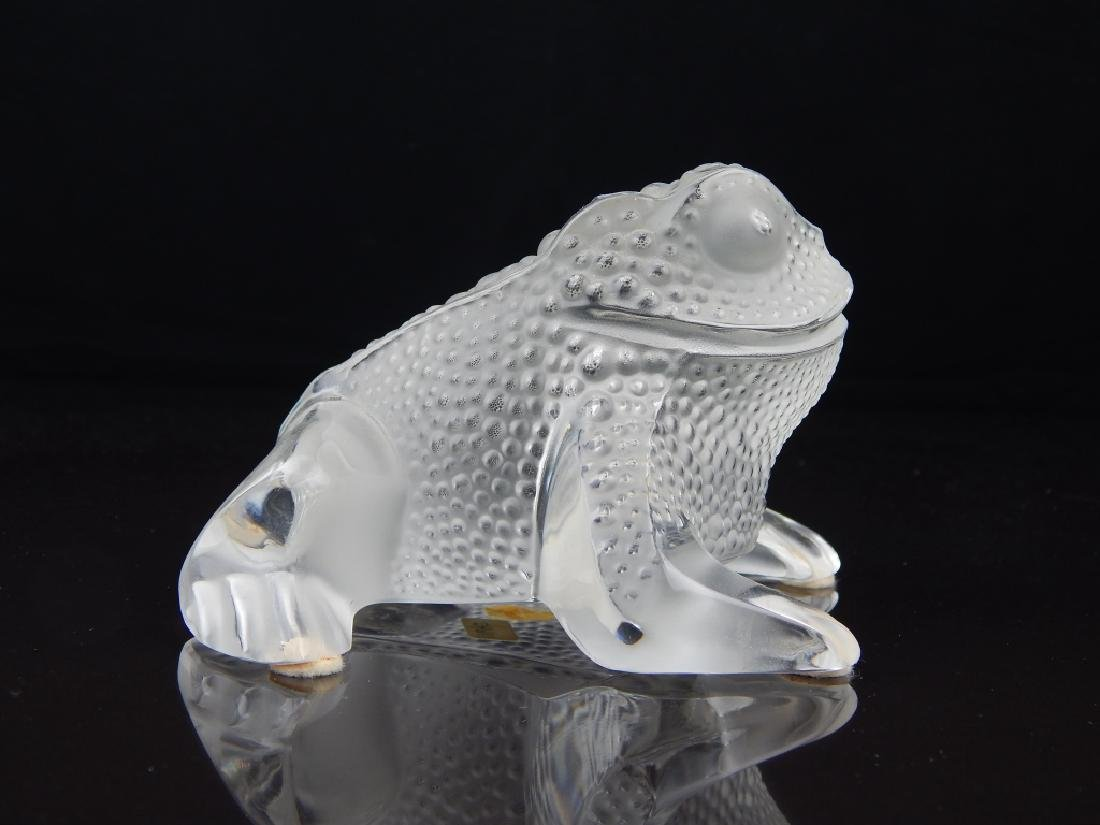 LALIQUE FRANCE CRYSTAL FROG SCULPTURE - 2
