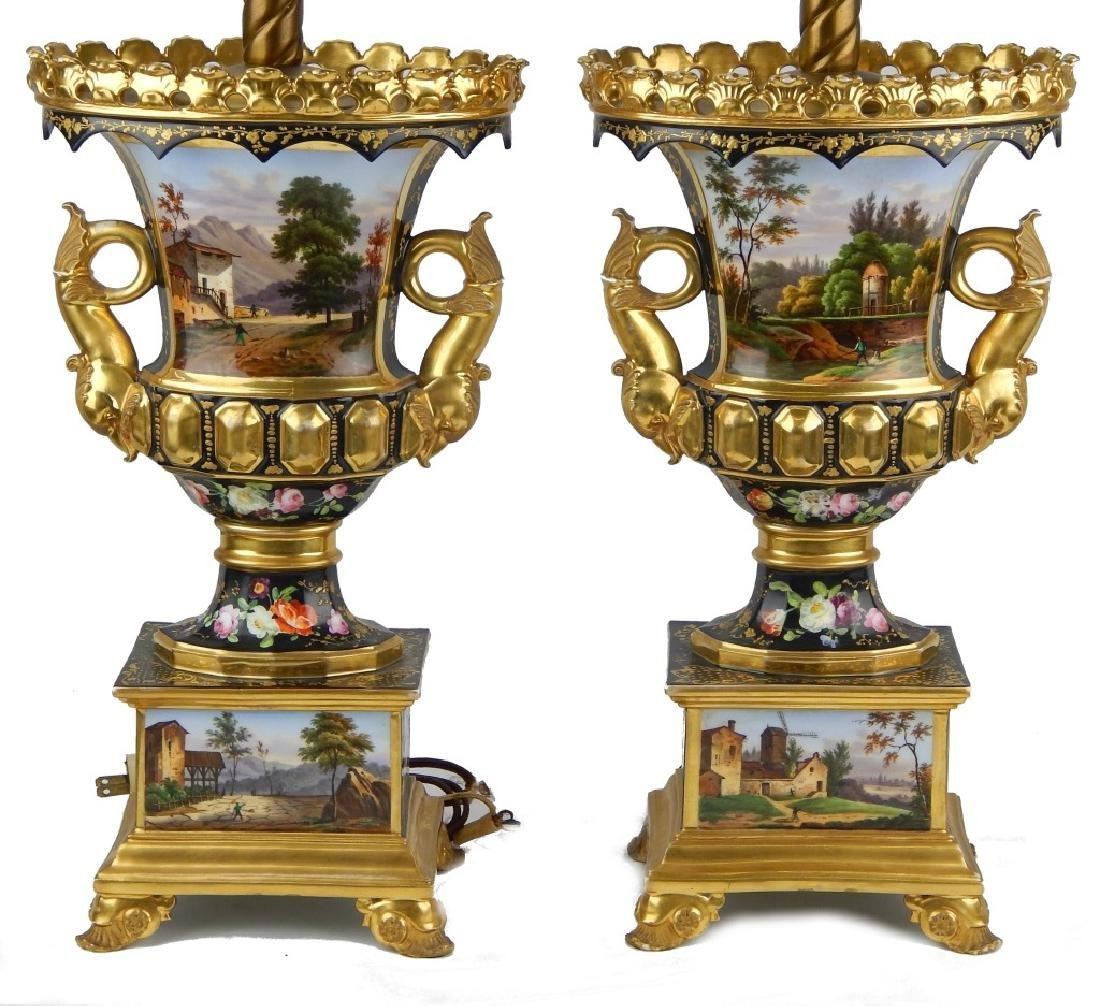 PAIR ANTIQUE OLD PARIS HAND PAINTED LAMPS