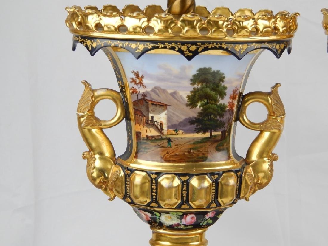 PAIR ANTIQUE OLD PARIS HAND PAINTED LAMPS - 3