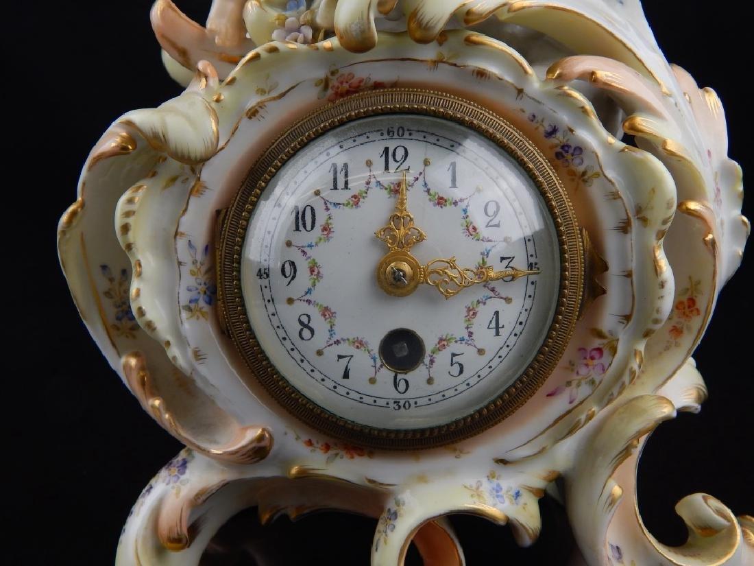 ANTIQUE MEISSEN FINE PORCELAIN PUTTI MANTLE CLOCK - 3
