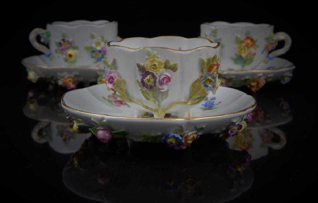(6) ANTIQUE MEISSEN CUPS/SAUCERS WITH FLOWERS