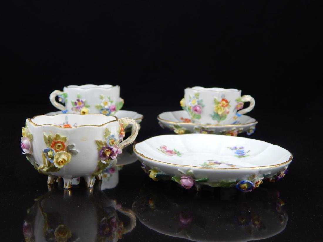 (6) ANTIQUE MEISSEN CUPS/SAUCERS WITH FLOWERS - 2