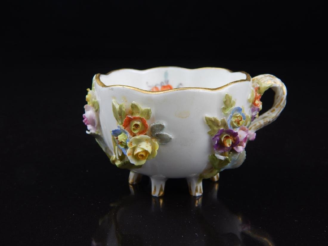 (6) ANTIQUE MEISSEN CUPS/SAUCERS WITH FLOWERS - 3