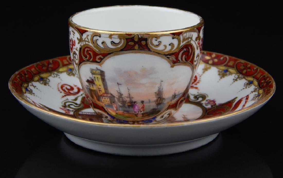 ANTIQUE MEISSEN TEA CUP & SAUCER WITH MINIATURE