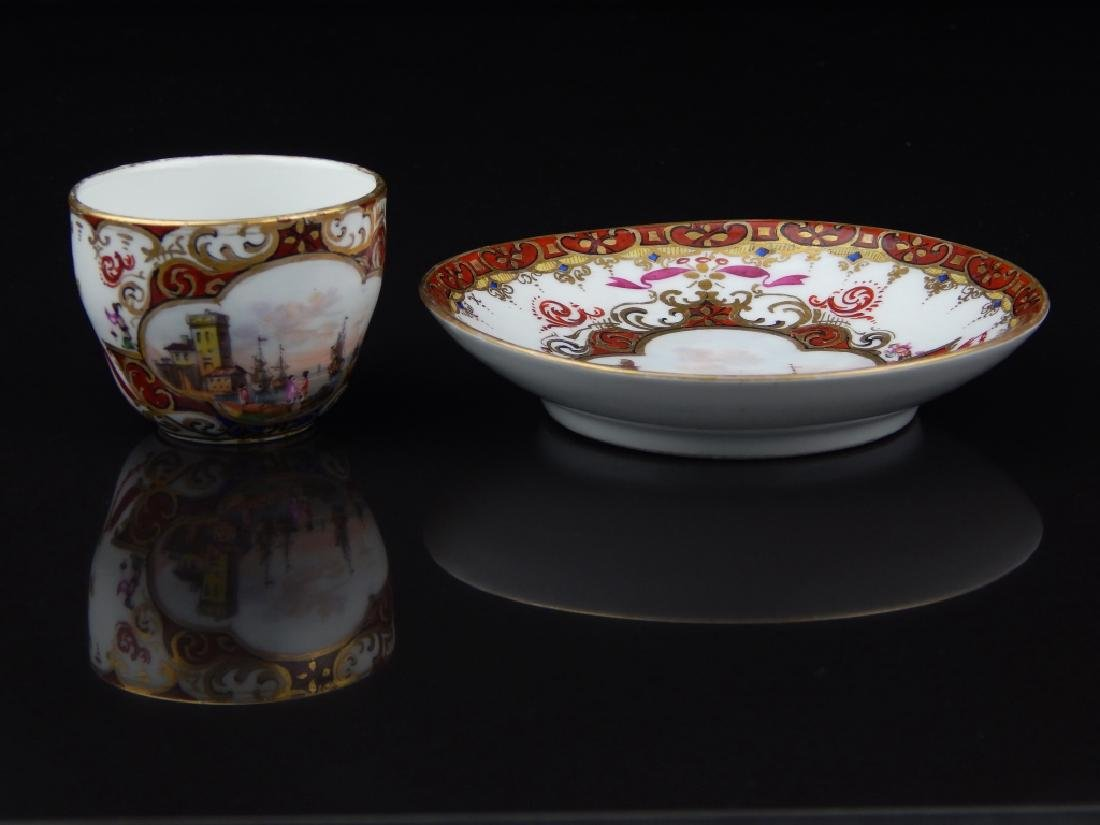ANTIQUE MEISSEN TEA CUP & SAUCER WITH MINIATURE - 4