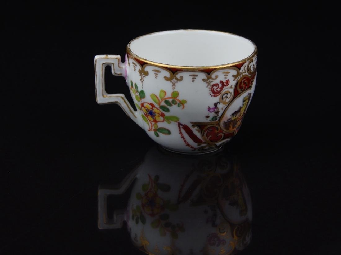 ANTIQUE MEISSEN TEA CUP & SAUCER WITH MINIATURE - 6