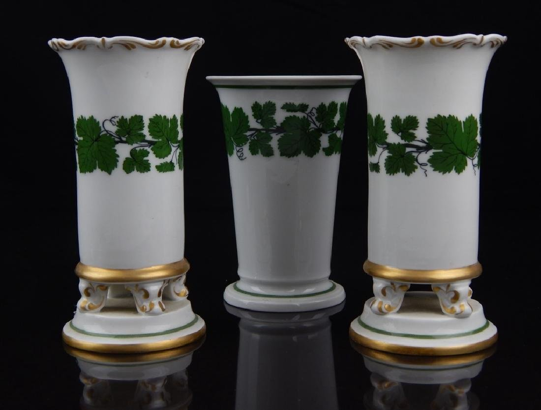 (3) ANTIQUE MEISSEN PORCELAIN TABLE VASES