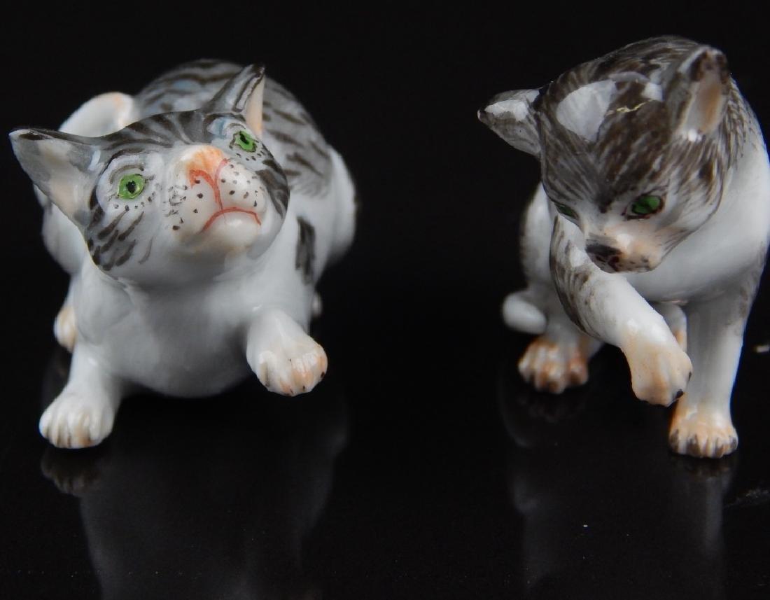 ANTIQUE MEISSEN MINIATURE PORCELAIN CATS