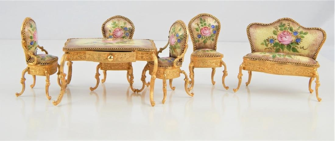 VIENNA STYLE ENAMEL TABLE AND CHAIRS