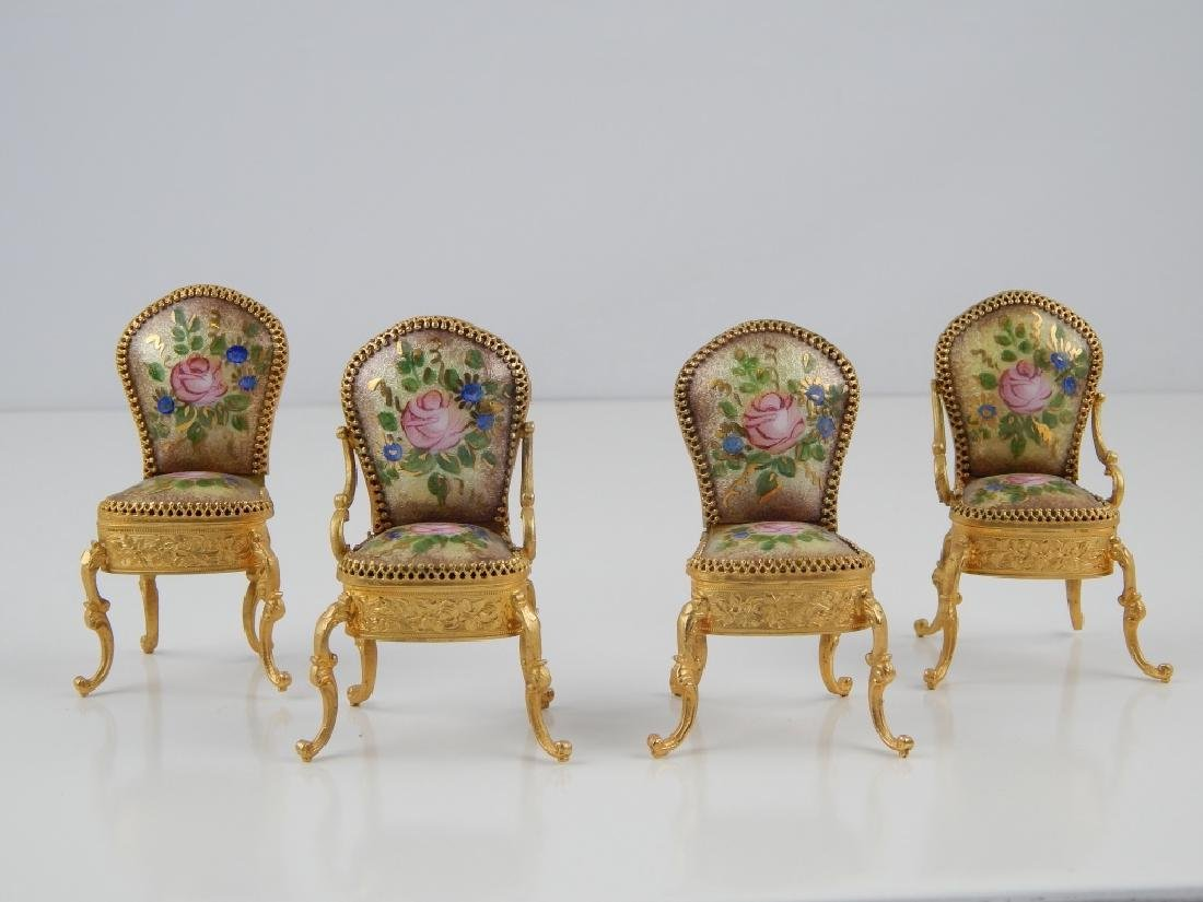 VIENNA STYLE ENAMEL TABLE AND CHAIRS - 2