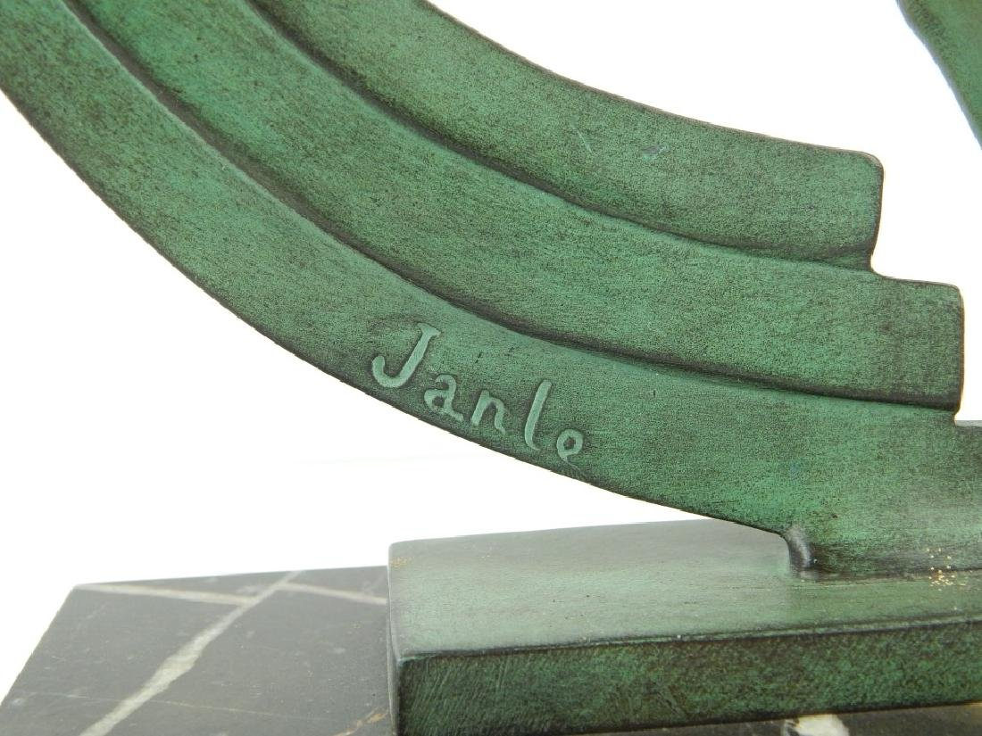 ART DECO JANLE GREEN PATINA BRONZE DANCER ON BASE - 2