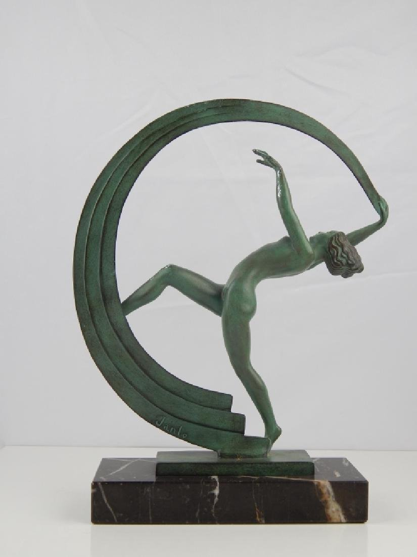 ART DECO JANLE GREEN PATINA BRONZE DANCER ON BASE - 5