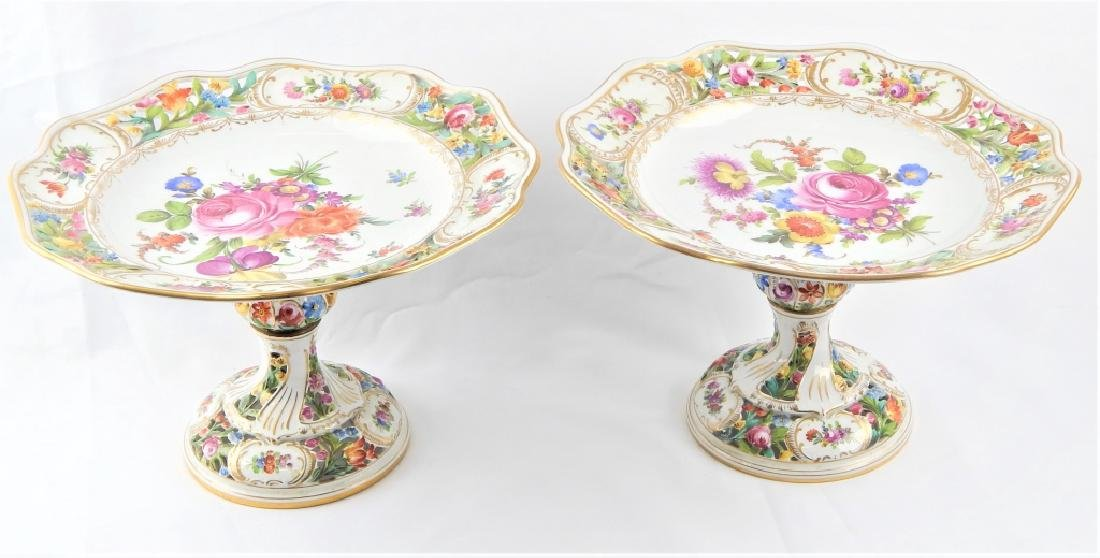PAIR DRESDEN HAND PAINTED FLORAL COMPOTES