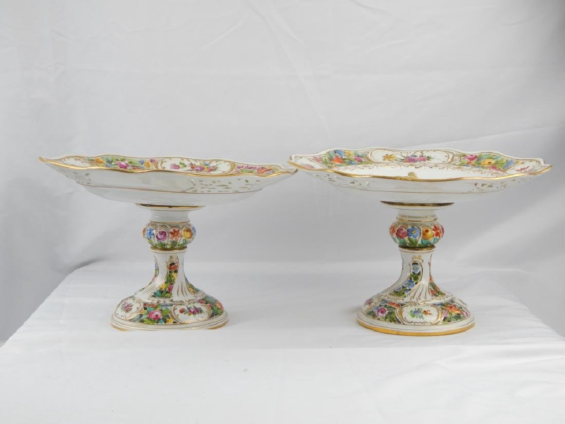 PAIR DRESDEN HAND PAINTED FLORAL COMPOTES - 2