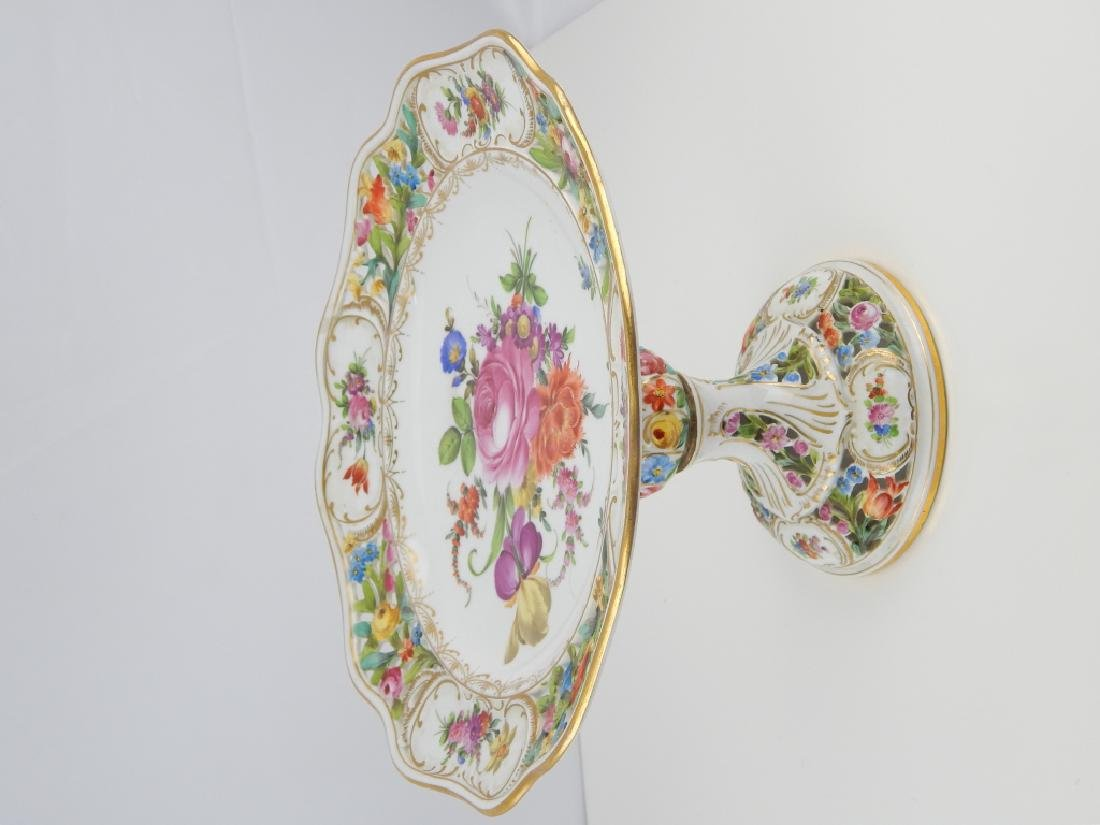 PAIR DRESDEN HAND PAINTED FLORAL COMPOTES - 3