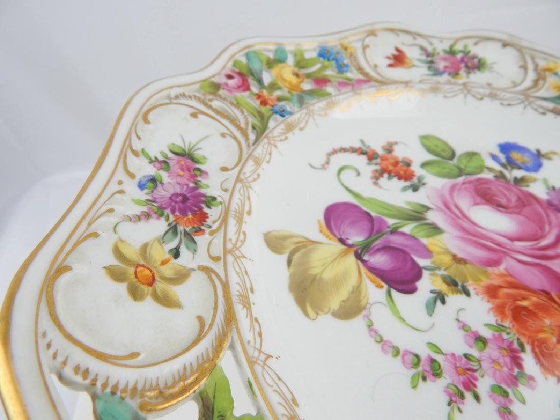 PAIR DRESDEN HAND PAINTED FLORAL COMPOTES - 4