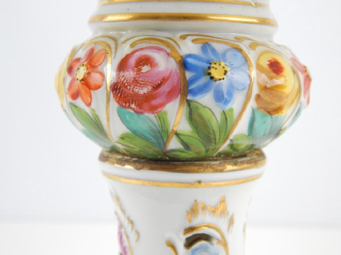 PAIR DRESDEN HAND PAINTED FLORAL COMPOTES - 6