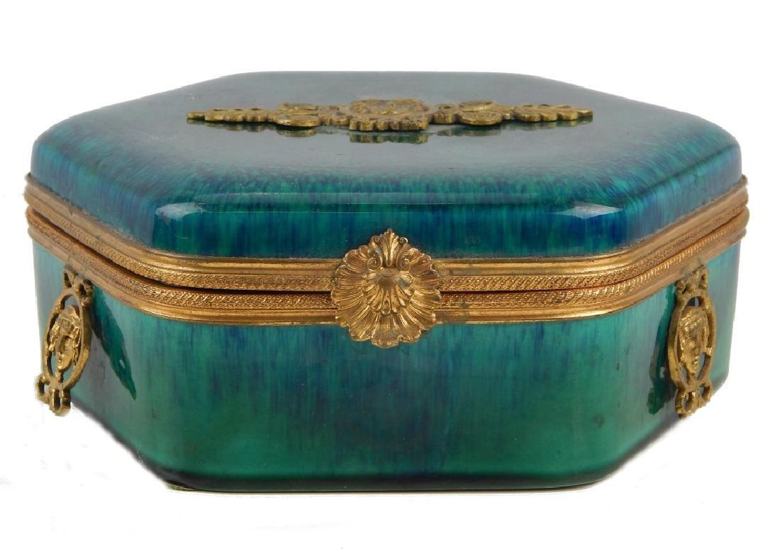 SEVRES FRANCE PORCELAIN AND ORMOLU LIDDED BOX