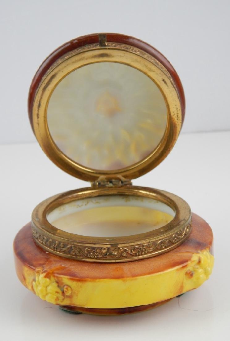 WAVE CREST ORMOLU PORCELAIN SUNFLOWER BOX - 4